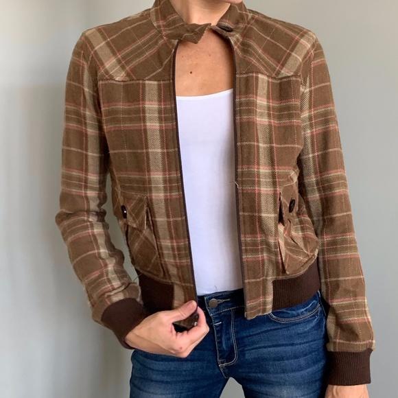 """M Vintage """"Wool"""" Brown Plaid Coat"""